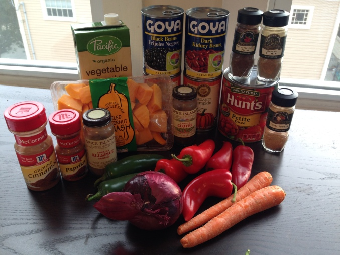 Vegan Chili Ingredients (minus the Chipotle chili powder and carrots, which I did not end up including)